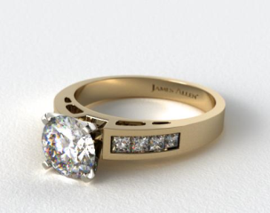 14K Yellow Gold 0.42ct Channel Set Diamond Engagement Ring