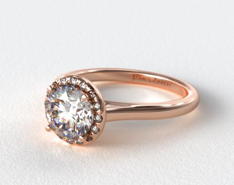 14K Rose Gold Pave Halo Engagement Ring (Round Center)
