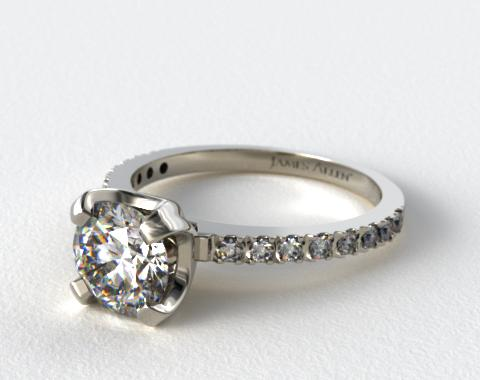 18K White Gold 2.0mm Art-Nouveau Pave Set Diamond Engagement Ring