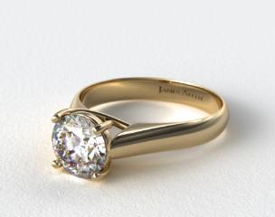 18K Yellow Gold Thin Cross Prong Diamond Engagement Ring