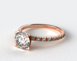 14K Rose Gold Thin French-Cut Pave Set Diamond Engagement Ring