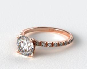 14K Rose Gold Thin French-Cut Pave Set Diamond Engagement Ring
