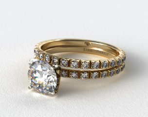 18K Yellow Gold Thin French-Cut Pave Diamond Wedding Set