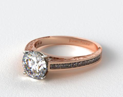14K Rose Gold Engraved Channel Set Carre Shaped Diamond Engagement Ring