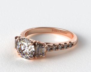 14K Rose Gold Three Stone Brilliant Diamond Trellis Engagement Ring