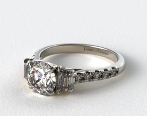 18K White Gold Three Stone Brilliant Diamond Trellis Engagement Ring