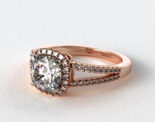 14K Rose Gold Cushion Halo Split Shank Diamond Engagement Ring