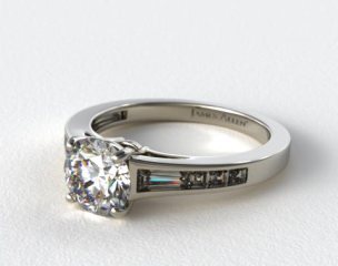 14K White Gold Tapered Baguette and Princess Engagement Ring