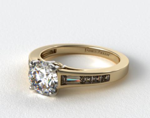 18K Yellow Gold Tapered Baguette and Princess Engagement Ring