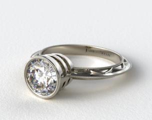 14K White Gold Milgrain Bezel Diamond Engagement Ring