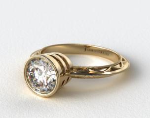 18K Yellow Gold Milgrain Bezel Diamond Engagement Ring