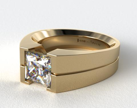 18K Yellow Gold Wide Squared Tension Set Engagement Ring