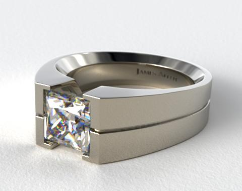 Platinum Wide Squared Tension Set Engagement Ring