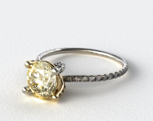 18k White Gold Twist Pave ZE102 with Yellow Gold Basket by Danhov Designer Engagement Ring