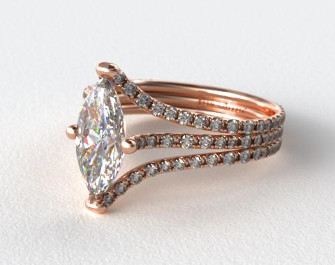 14K Rose Gold Three Row Pave ZE118 by Danhov Designer Engagement Ring