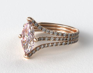 18k White Gold Three Row Pave ZE118 by Danhov Designer Engagement Ring (Rose Gold Basket)