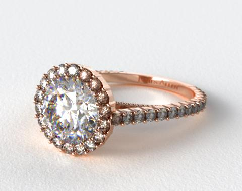 14K Rose Gold Halo Pave XE101 by Danhov Designer Engagement Ring