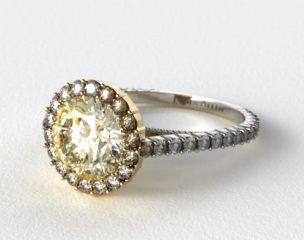 18k White Gold Halo Pave XE101 by Danhov Designer Engagement Ring (Yellow Gold Basket)