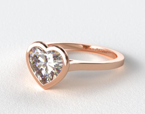 14K Rose Gold Bezel Solitaire Engagement Ring (Heart Center)