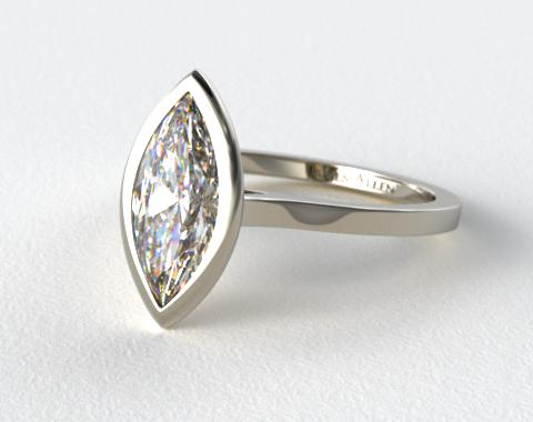18k White Gold Bezel Solitaire Engagement Ring (Marquise Center)
