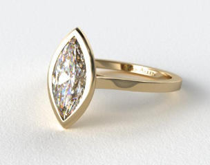 14k Yellow Gold Bezel Solitaire Engagement Ring (Marquise Center)