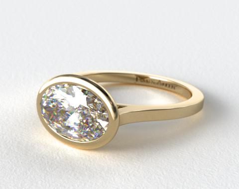 18K Yellow Gold Bezel Solitaire Engagement Ring (Oval Center)