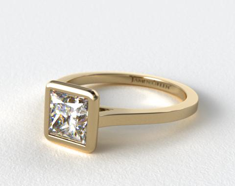 18k Yellow Gold Bezel Solitaire Engagement Ring (Princess Center)