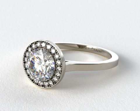 14K White Gold Pave Halo Engagement Ring (Round Center)