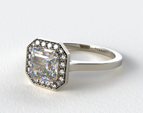 18k White Gold Pave Halo Engagement Ring (Asscher Center)