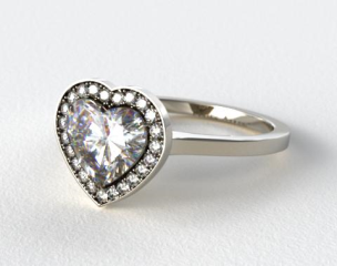 14k White Gold Pave Halo Engagement Ring (Heart Center)