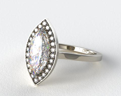 18k White Gold Pave Halo Engagement Ring (Marquise Center)