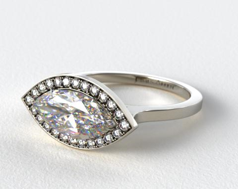 Platinum Pave Halo Engagement Ring (Marquise Center)