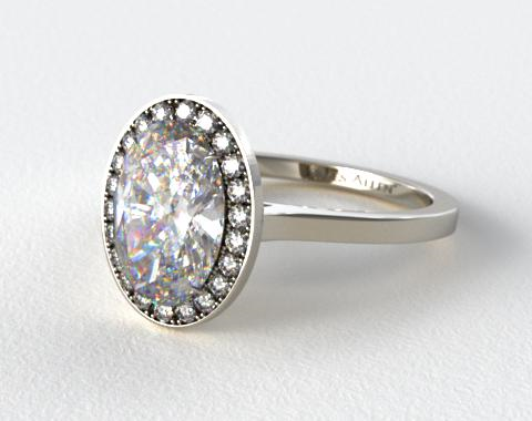 18k White Gold Pave Halo Engagement Ring (Oval Center)