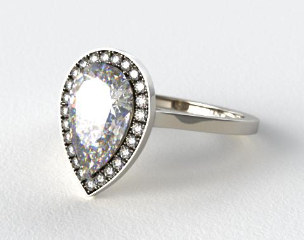 Platinum Pave Halo Engagement Ring (Pear Center)