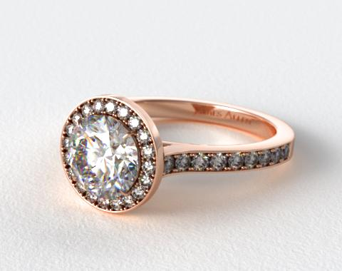 14K Rose Gold Pave Halo & Shoulders Engagement Ring (Round Center)