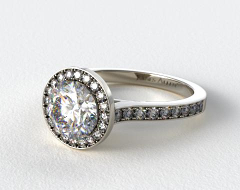 Platinum Pave Halo & Shoulders Engagement Ring (Round Center)