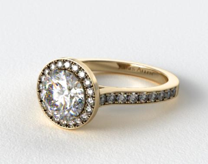 18k Yellow Gold Pave Halo & Shoulders Engagement Ring (Round Center)