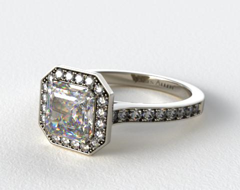 14K White Gold Pave Halo & Shoulders Engagement Ring (Asscher Center)