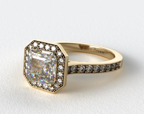 18k Yellow Gold Pave Halo & Shoulders Engagement Ring (Asscher Center)