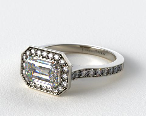 Platinum Pave Halo & Shoulders Engagement Ring (Emerald Center)