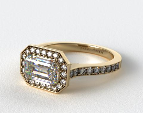 18K Yellow Gold Pave Halo & Shoulders Engagement Ring (Emerald Center)