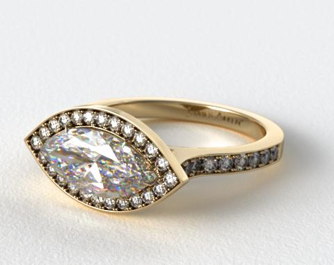 18k Yellow Gold Pave Halo & Shoulders Engagement Ring (Marquise Center)
