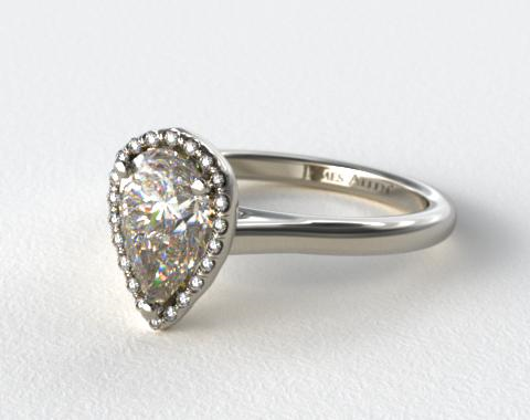 14k White Gold Pave Halo Diamond Engagement Ring (Pear Center)