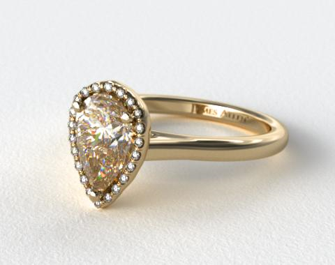 18K Yellow Gold Pave Halo Diamond Engagement Ring (Pear Center)