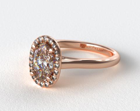 14K Rose Gold Pave Halo Diamond Engagement Ring (Oval Center)