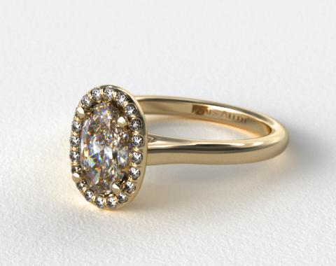 18K Yellow Gold Pave Halo Diamond Engagement Ring (Oval Center)