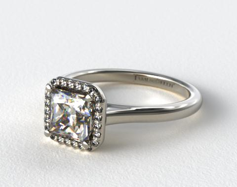 Platinum Pave Halo Diamond Engagement Ring (Princess Center)