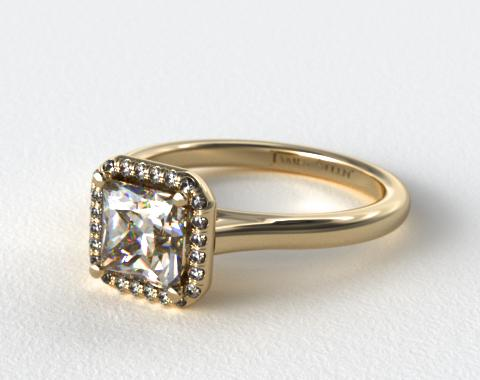 18K Yellow Gold Pave Halo Diamond Engagement Ring