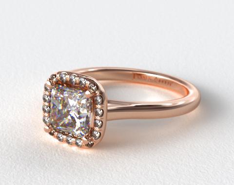 14K Rose Gold Pave Halo Diamond Engagement Ring (Cushion Center)