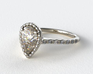 18K White Gold Pave Halo and Shank Diamond Engagement Ring (Pear Center)